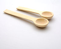 Wooden spoon. Two wooden spoon on a white background Stock Photos