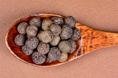 Wooden spoon with allspice. Closeup wooden spoon with allspice stock image
