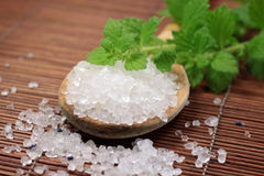 Wooden spoon with bath salt Royalty Free Stock Photos