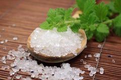 Wooden spoon with bath salt Royalty Free Stock Photos