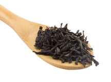 Wooden spoon black Tea Stock Image