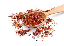 Wooden spoon and chili pepper flakes royalty free stock photo