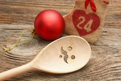Wooden Spoon and Chrismas decorations Stock Images