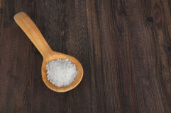 Wooden spoon with coarse salt Stock Photos