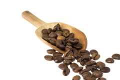 Wooden spoon with coffee beans Stock Images