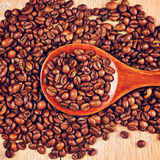 Wooden Spoon With Coffee Beans Royalty Free Stock Image