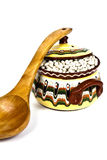 Wooden Spoon and colorful ceramic pot Stock Photos