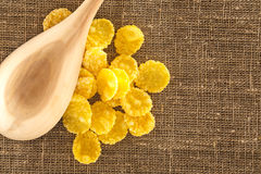 Wooden spoon and corn flakes Stock Photos