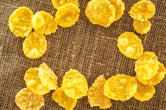 Wooden spoon and corn flakes Stock Image