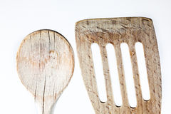 Wooden spoon detail shot on white Royalty Free Stock Photo