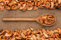 Wooden spoon with dried apple lies on  sackcloth Stock Images