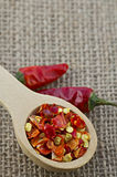 Wooden spoon with dried crushed chili red pepper Stock Image