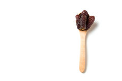 Wooden Spoon with dried dates Royalty Free Stock Photography