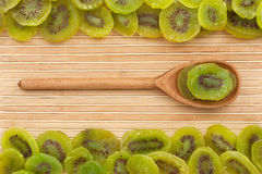 Wooden spoon with  dried  kiwi Stock Photography