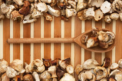 Wooden spoon with dried mushroom  lies on bamboo mat Royalty Free Stock Photo