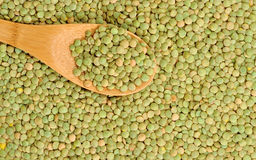 Wooden spoon and dry lentils healthy food background Royalty Free Stock Images