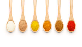 Wooden Spoon filled with colorful spices Royalty Free Stock Photo