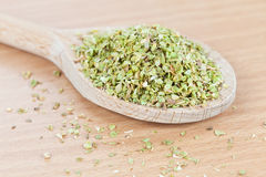 Wooden spoon filled with dry ground oregano Stock Photos