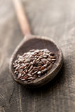 Wooden spoon with flax seed Royalty Free Stock Photo