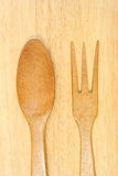 Wooden spoon and fork Stock Image