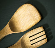 Wooden spoon and fork Stock Photography