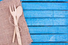 Wooden spoon and fork Stock Images
