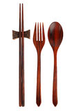 Wooden spoon fork and chopsticks Royalty Free Stock Images