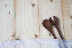 Wooden spoon and fork. The concept of rustic kitchen. Top view. Royalty Free Stock Image