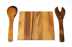 Wooden Spoon Fork and Cutting Board stock image