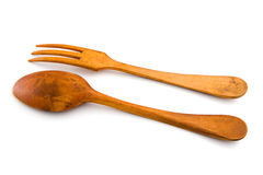 Wooden spoon and fork. Isolated, with clipping Royalty Free Stock Images