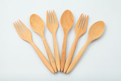 Wooden spoon and fork. Isolated on white Stock Photo