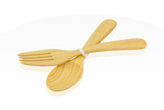 Wooden spoon and fork isolated on white Background,clipping path Royalty Free Stock Photos