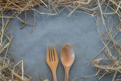 Wooden spoon and fork.jpg Stock Image