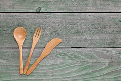 Wooden spoon and fork, knife Royalty Free Stock Photo