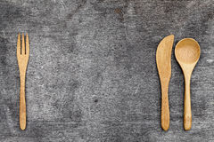 Wooden spoon and fork, knife Royalty Free Stock Images