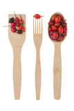 Wooden spoon, fork, paddle with  rosehips Royalty Free Stock Images