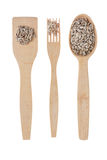 Wooden spoon, fork, paddle with sunflower  seed Royalty Free Stock Images