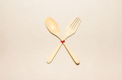 Wooden spoon and fork Royalty Free Stock Images