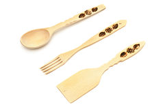 Wooden spoon, fork, spatula Royalty Free Stock Images