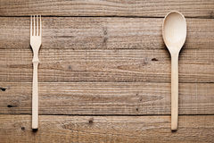 Wooden spoon and fork Stock Photos
