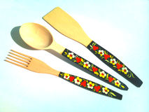 Wooden spoon and fork . Stock Image