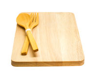 Wooden of spoon, fork and tray. Royalty Free Stock Images
