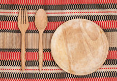 Wooden spoon and fork on wood texture of dining Royalty Free Stock Images