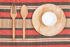 Wooden spoon and fork on wood texture Stock Photos