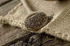 Wooden spoon full of chia seeds lying on a linen textile. Wooden spoon full of healthy chia seeds lying on a linen textile Stock Image