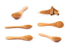Wooden spoon full of cinnamon Royalty Free Stock Image