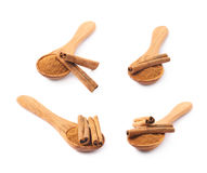 Wooden spoon full of cinnamon Stock Image