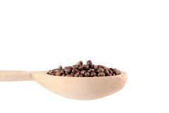 Wooden spoon full with pine nuts. Royalty Free Stock Photography
