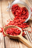 Wooden spoon with goji berries Royalty Free Stock Photos