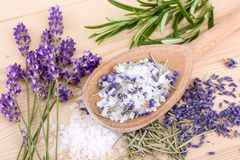 Herbal salt with rosemary and lavender. Wooden spoon with Herb salt of rosemary and lavender blossoms Royalty Free Stock Images